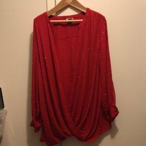 Catherine's red long sleeved rhinestone top